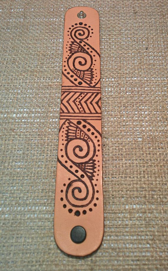 Bohemian design hand burned leather cuff, bracelet, pyrography, hippie style, festival wear. ◅. ▻