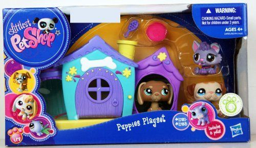 Littlest Pet Shop Puppies Playset w/3 pets & Purple House by Hasbro. $42.99. # 1751-1753. Purple/Green House. Also included is a brush and a flying disc to play with. with 3 Puppies, # 1751-1753. This adorable Litttlest Pet Shop Puppy Play set includes 3 cute  puppies. ,Collector#  1751,1752 & 1753.  There is also a sweet a Purple and Green House for the puppies to play in.   Also inclued is accesories to complete the set.  This set is part of a series.  Collect a...