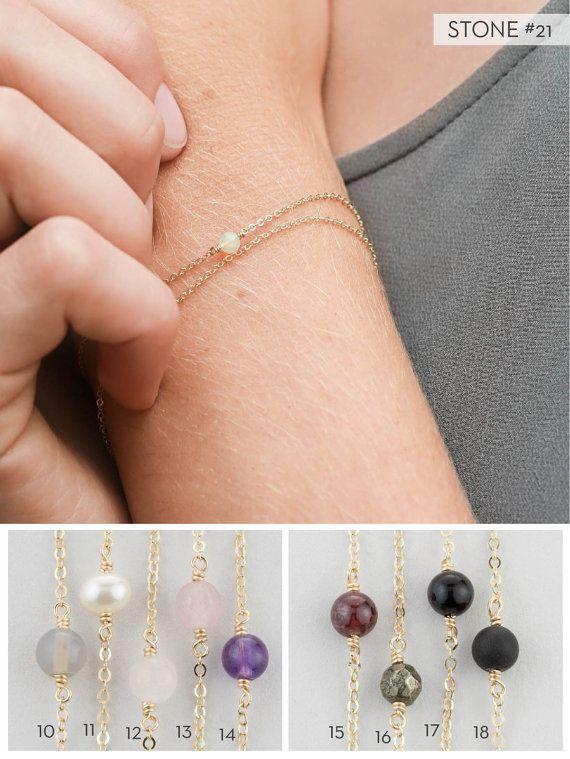 Simple Birthstone Bracelet, Dainty Gemstone or Peridot Layering Piece, Gift Bracelet / 14k Gold Filled, Rose Gold or Sterling Silver LB630