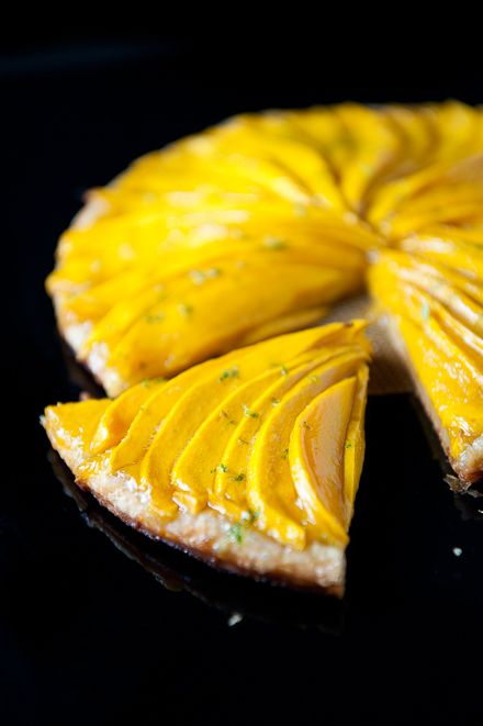 Mango tart with lime. I usually eat my mango standing over a sink, but maybe I should branch out...
