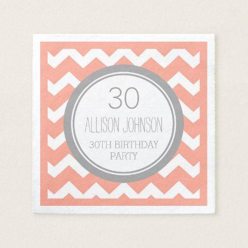 Monogram 30th Birthday Napkin Coral Chevron