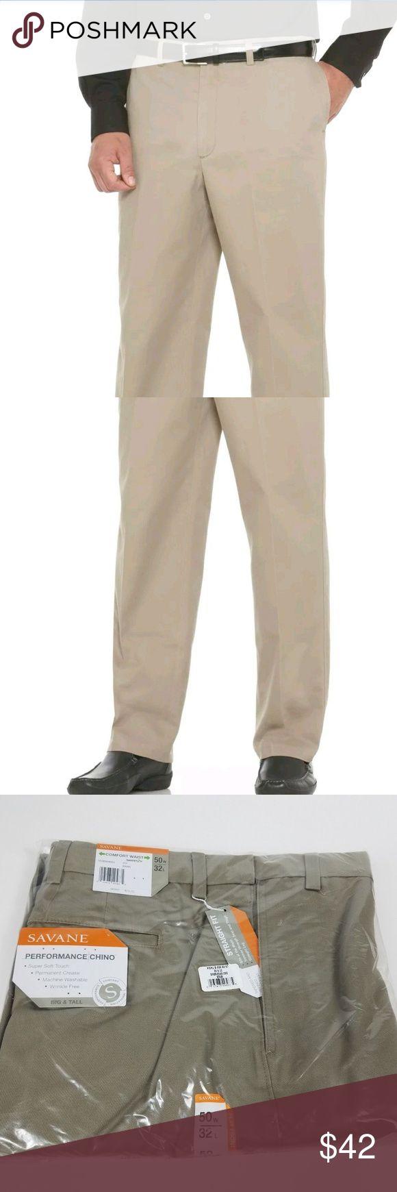 Savane Big & Tall Flat Front Performance Chino Men Savane Big & Tall Flat Front Performance Chino Mens 50x32 Comfort Waist Straight Savane Pants Chinos & Khakis