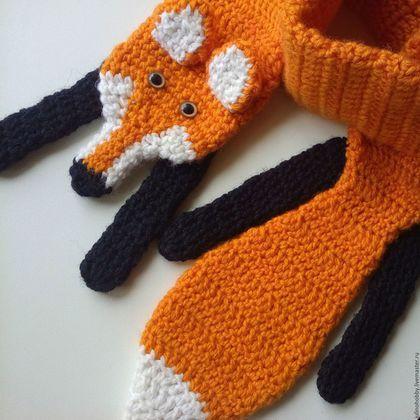 Crochet scarf for kids / Шапки и шарфы ручной работы. Шарф-лиса детский. Юлия. Интернет-магазин Ярмарка Мастеров. Звериная расцветка, шарф в подарок