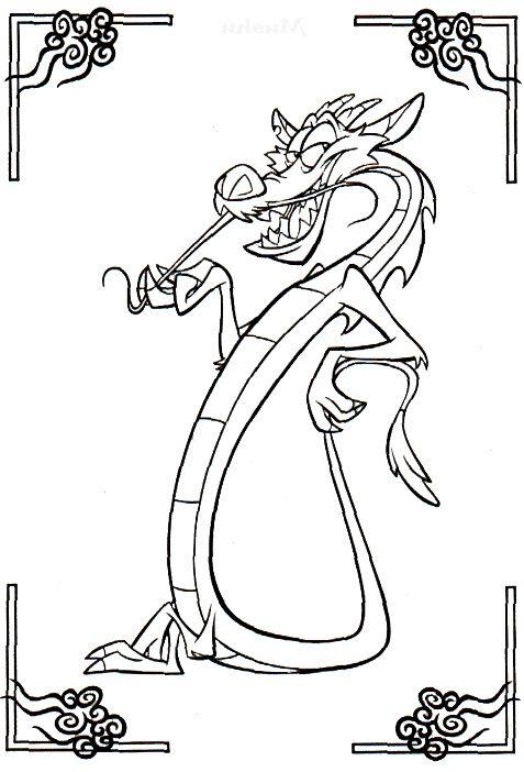 mushu coloring pages mulan cartoon coloring pages - Taser Gun Cartoon Coloring Pages