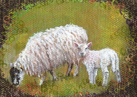 Mother and lamb Aceo wood block Easter gift Folk art by TheArtBoat