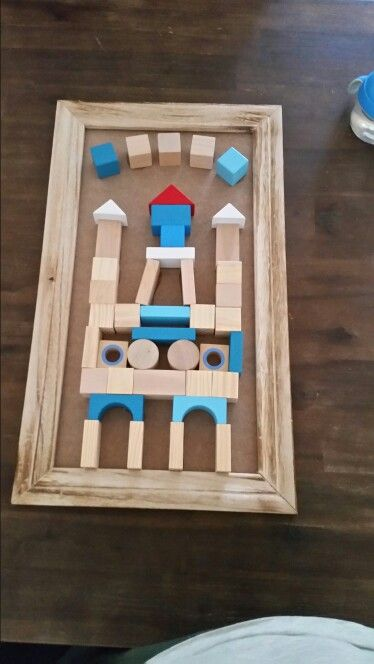 Made a castle from blocks in a frame