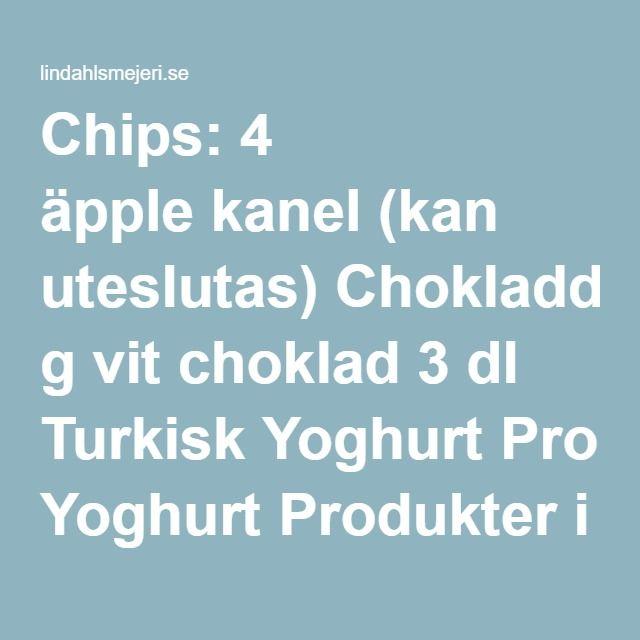 Chips: 4 äpple kanel (kan uteslutas) Chokladdipp: 100 g vit choklad 3 dl Turkisk Yoghurt Produkter i detta recept    SÅ HÄR GÖR DU Chips: Sätt ugnen på 75 grader. Skiva äpplena tunt, skalet kan vara kvar! Lägg på plåt och pudra med kanel. Sätt en trägaffel i ugnsluckan så den hålls lite öppen. Torka äpplena i 3-4 timmar.  Chokladdipp: Smält chokladen och vispa därefter ner yoghurt lite i taget.