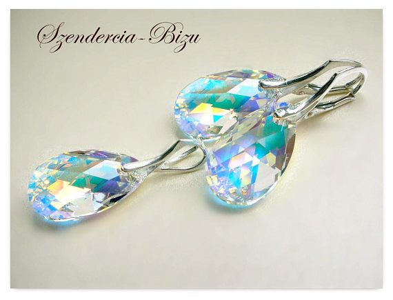 ceb7c9a6c Beautiful 925 Silver Jewelry with Swarovski Elements: Pear-shaped Crystal  Aurore Boreale 22mm.