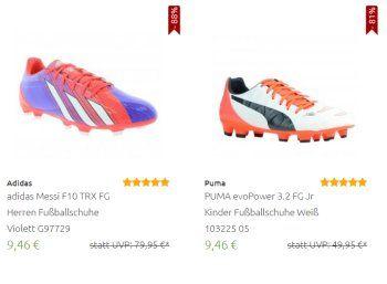 Outlet46: Fußballschuhe von Adidas, Puma und Nike ab 9,46 Euro frei Haus https://www.discountfan.de/artikel/klamotten_&_schuhe/outlet46-fussballschuhe-von-adidas-puma-und-nike-ab-9-46-euro-frei-haus.php Der zweite Tag in der neuen Bundesliga-Saison steht vor der Tür – passend dazu sind bei Outlet46 jetzt Marken-Fußballschuhe von Adidas, Puma und Nike zu Preisen ab 9,46 Euro mit Versand zu haben. Outlet46: Fußballschuhe von Adidas, Puma und Nike ab 9,46 Euro frei H