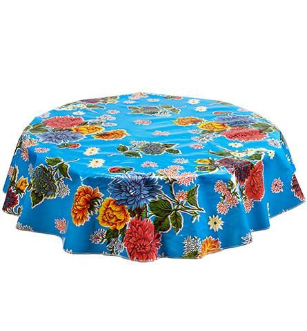 Slightly Imperfect Round Oilcloth Tablecloth In Mum Light Blue