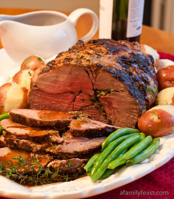 Boneless Roasted Lamb with Red Wine Pan Sauce - A Family Feast
