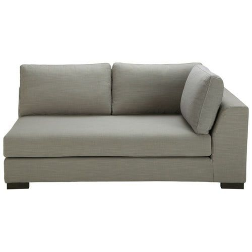 Terence - Light grey Monet fabric modular sofa bed right armrest