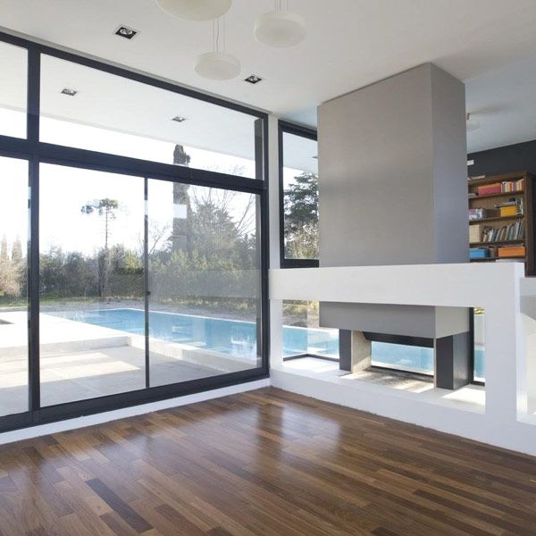Architecture, Black And White Contemporary Family House: Glass Window With Black Metal Frame