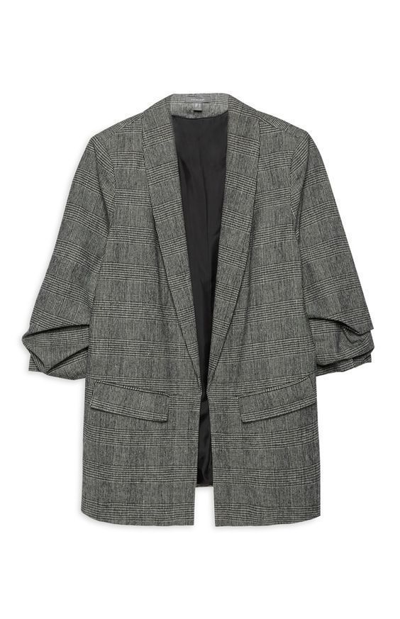 ea0241fe41c PRIMARK Grey Gingham Check Textured Ruche Sleeve Blazer UK 14 ...