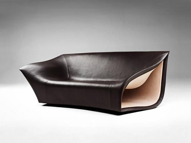 Sofa BedSleeper Sofa Inspired by the Movement of the Waves Split Leather Sofa uChairs Alex Hull envisioned a leather and suede sofa for Gallery Fumi as part of its exhibit at