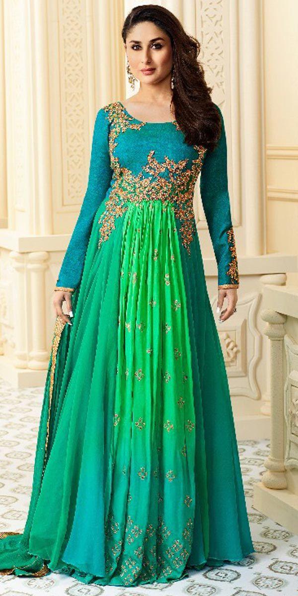 Green Georgette Anarkali Suit.