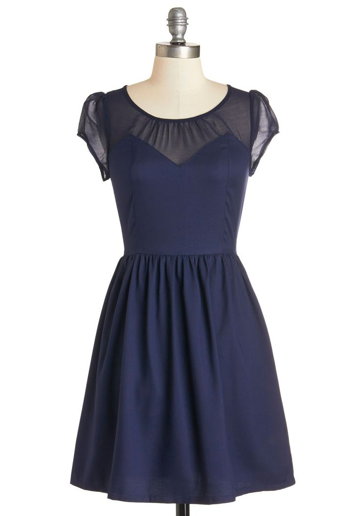 Arrive with Aplomb Dress. As you make your debut in this darling navy-blue dress, its short pleated A-line swaying with each step, you cant help but exude poise and confidence. #blue #modcloth