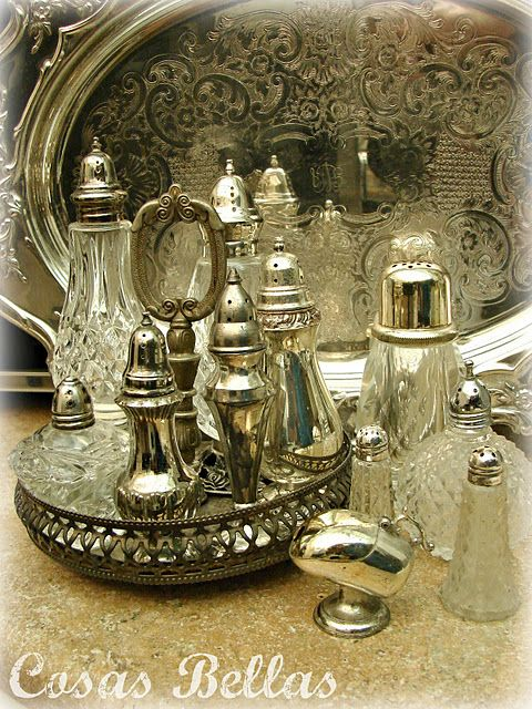 crystal and silver ~ sugar shakers and salt & pepper