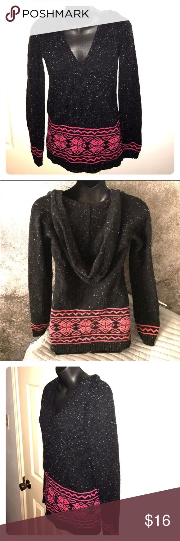 🛒🎉SALE🎉🛒Hoodie sweater v neck large Black and pink (see close up for cool colors in the black). Juniors size  large 11/13. No boundaries brand. GUC. Bundle to save even more. Reasonable offers accepted on my closet. Sweaters