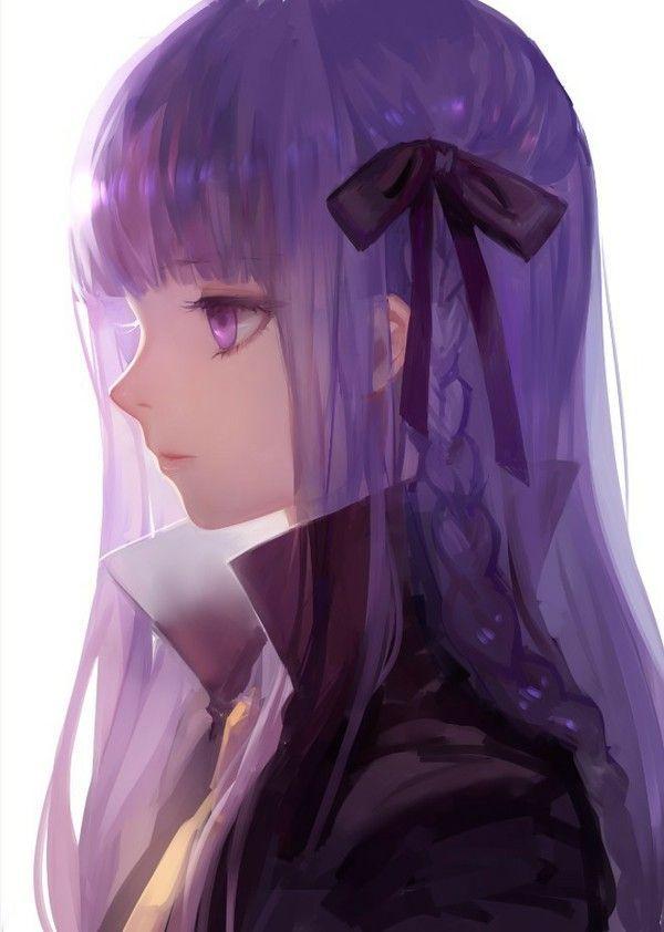 Purple hair, black ribbon