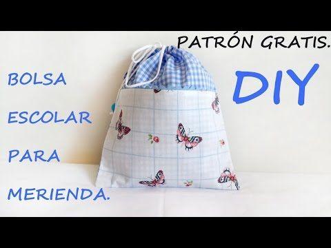 !!! Patrón gratis !!! Como hacer una bolsa escolar para merienda.
