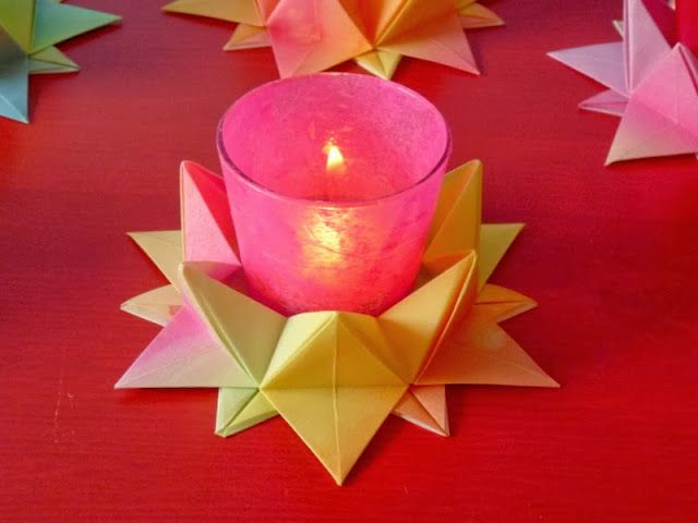 Paper star candle holders. Origami BoxesPaper StarsPapercuttingKirigamiCandle ... & 311 best Kita Falten images on Pinterest | Crafts for kids Diy ... Aboutintivar.Com