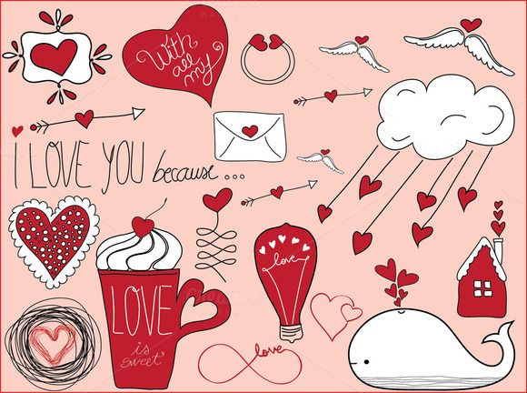 Check out Valentine's Day Doodles by Celta on Creative Market