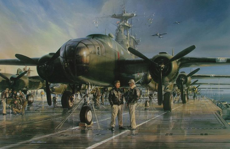 THE HORNET'S NEST - SPECIAL UK EDITION - Lt Col. James H. Doolittle confers with Capt. Marc A. Mitscher on the bomber-laden deck of the USS Hornet. On April 18, 1942, as the fateful day of April 18, 1942 approaches. Sixteen specially-modified B-25 bombers would lift off the Hornet to strike military targets on the Japanese home islands, giving America and its allies a badly-needed morale boost in the wake of destruction at Pearl Harbor.