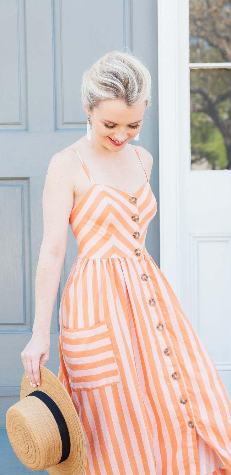 Button Down Midi Stripe Linen Dress - Poor Little It Girl