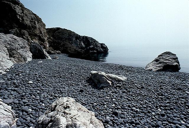 Mavra Volia (black pebble) beach, Chios Greece