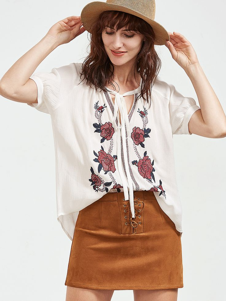 Shop White Tie Neck Rose Embroidered Crepe Top online. SheIn offers White Tie Neck Rose Embroidered Crepe Top & more to fit your fashionable needs.