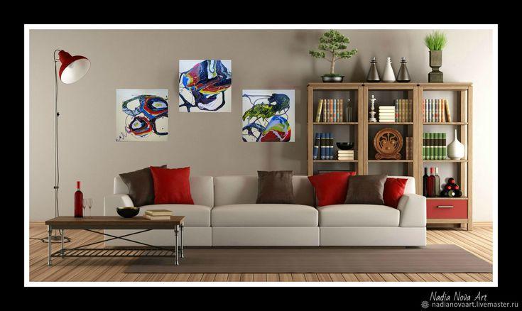 Триптих интерьерный «Яичница с броколли»- авторская абстрактная акрило – купить в интернет-магазине на Ярмарке Мастеров с доставкой - F7DIXRU