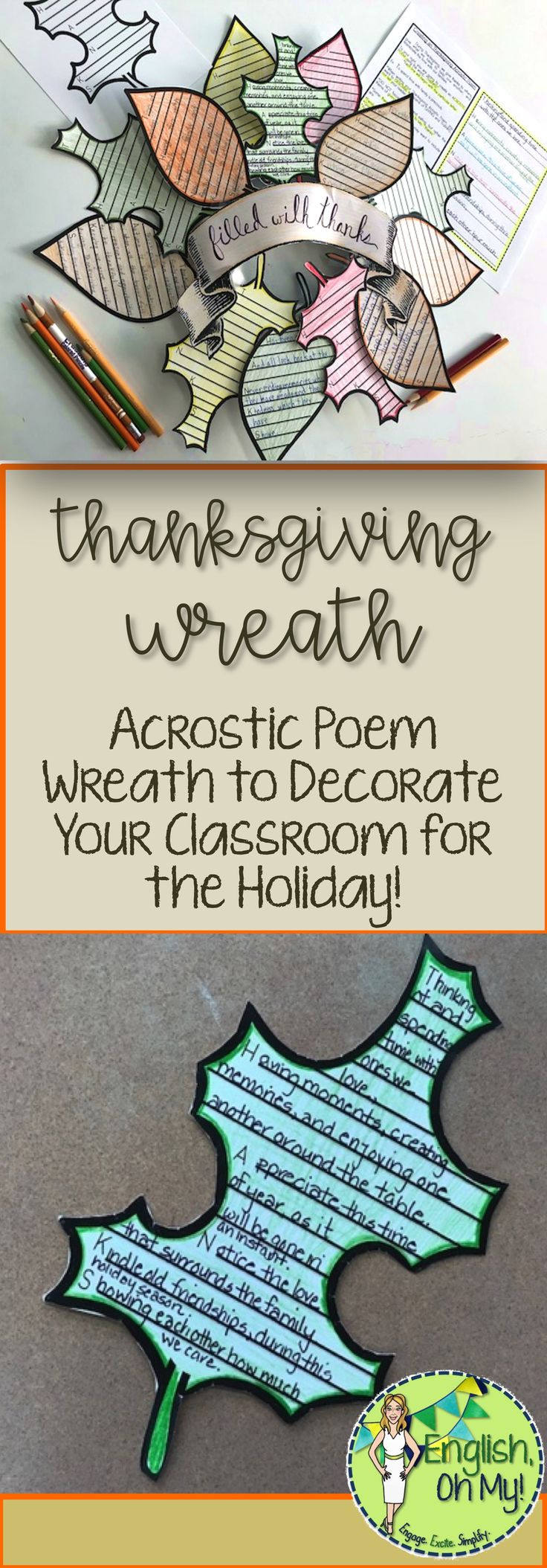 Are you looking for a Thanksgiving activity to decorate your door, window or board?  Check out this Acrostic Poem Wreath!  This engaging activity has your students writing poems and decorating your classroom!