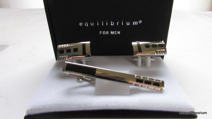 Equilibrium Men s Three Squares Cuff Links and Tie pin Set