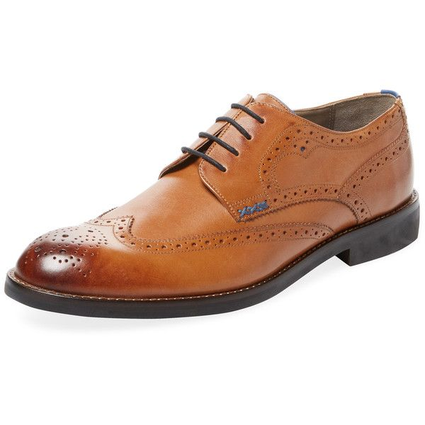 Sweeney London Men's Malham Derby Shoe - Cream/Tan, Size 10 ($125) ❤ liked on Polyvore featuring men's fashion, men's shoes, men's dress shoes, mens tan dress shoes, mens dress shoes, mens tan brogues, mens tan shoes and mens derby shoes