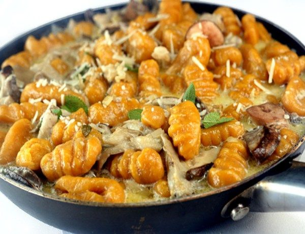 Pumpkin Gnocchi with Creamy Mushrooms. This gnocchi can be made with mashed sweet potatoes instead of pumpkin, too, for a sweet potato gnocchi!