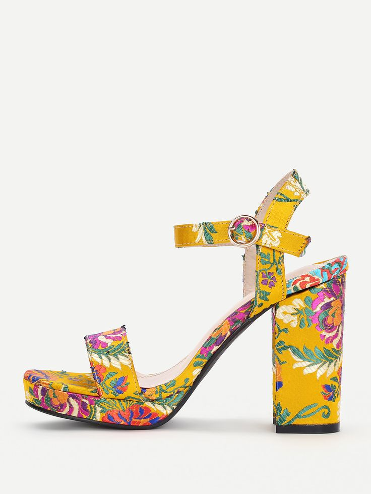 Shop Calico Embroidery Block Heeled Sandals online. SheIn offers Calico Embroidery Block Heeled Sandals & more to fit your fashionable needs.
