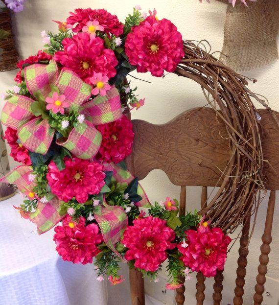 Spring everyday grapevine wreath by TammysFlowersandmore on Etsy, $50.00