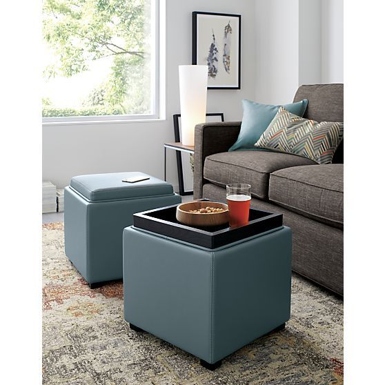 Concealed storage cube in soft, pebbled bonded leather goes bold in ocean  blue. Pull - 25+ Best Ideas About Storage Ottoman Cube On Pinterest Ottomans