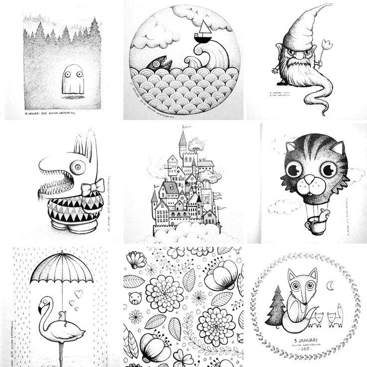 Mina dagliga illustrationer på instagram, @alvinagarpebring