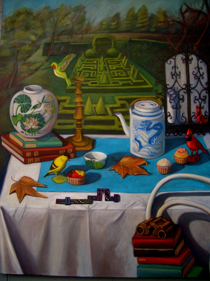 Nicola Semmens The Domino effect. Oil on canvas