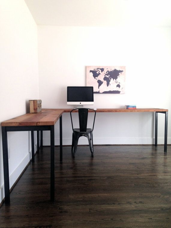 Hey, I found this really awesome Etsy listing at https://www.etsy.com/listing/227410978/l-shaped-desk-reclaimed-wood-steel