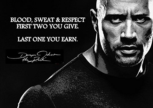 Dwayne Johnson, The Rock Inspirational Motivational Quote Sign Poster Print Picture SPORTS,LIFE, Wrestling