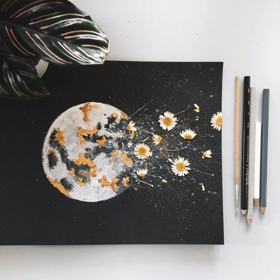 "PRINT: ""DARK NIGHT"" Moon Watercolor with Gold Leaf…"