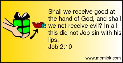 Shall we receive good at the hand of God, and shall we not receive evil? In all this did not Job sin with his lips.  Job 2:10