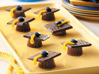 Graduation Party Food & Fun Here's to the class of 2012! Celebrate the graduate with these impressive yet easy-to-make treats from our friends at Taste of Home. Start off with these simple and sweet Graduation Caps—all you need are chocolate cookies, peanut butter cups, M, and frosting.