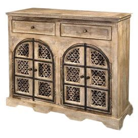 fourdoor accent chest with handcarved panels and fretwork detail product