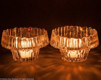 Iittala Stellaria crystal candle holders, Tapio Wirkkala, Finland