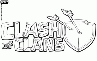 Logo of the multiplayer video game Clash of Clans coloring page