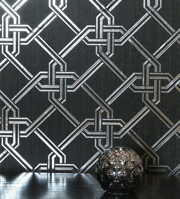 Templeton Foil 33 L X 20 5 W Wallpaper Roll Black And Silver Wallpaper Metallic Wallpaper Geometric Foil Wallpaper